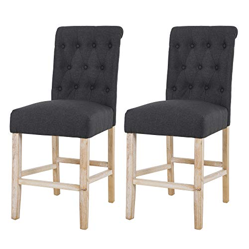 "NOBPEINT Fabric Upholstered Barstool Dining Chair Solid Wood Legs 24"", Charcoal(Set of 2)"