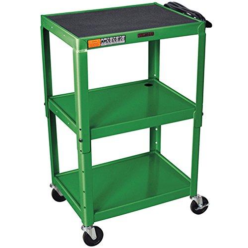 Luxor Adjustable Height Green Metal A/V Multipurpose Presentation Cart