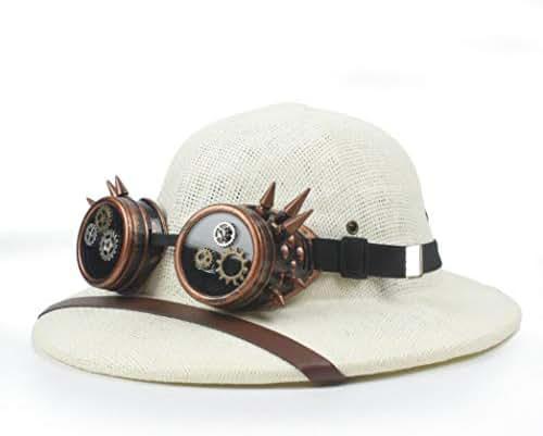 Straw Hat Steampunk Helmet Pith Sun Hat Unisex Vietnam War Army Hat Steam Punk Glasses Safari Jungle Miners Cap