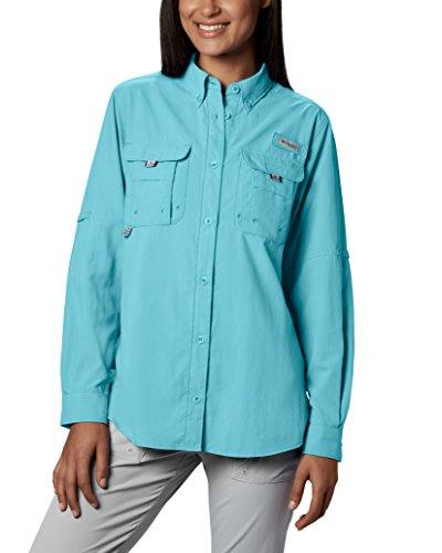 Columbia Womens Bahama Long Sleeve Shirt, Large, Clear Blue
