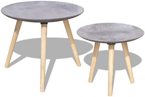 Fijo Night de 2 piezas. Juego Mesa Auxiliar Mesa Café Redonda como mesa de teléfono (con tablero de la mesa redonda diámetro 55 cm & 44 cm hormigón gris: Amazon.es: Juguetes y juegos