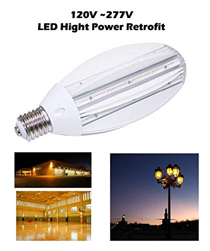 (Reo-Lite 50W LED Corn Light Bulb 2700K Replaces 100W & 175W Metal Halide, 5,500 Lumens, Mogul Base E39, 100-277V AC DLC Ul Listed)