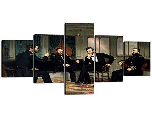 5 Panels Wall Art American Men The Peacemakers-Abraham Lincoln at Civil War Time by George The Picture Print On Canvas,Framed Pictures Home Modern Decor for Men,Wall Decor Painting(50''W x 24''H) -