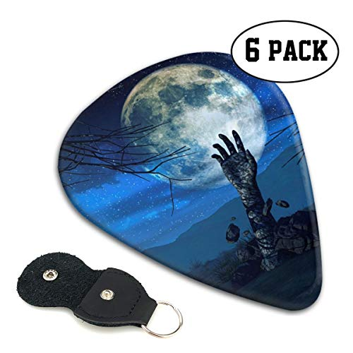 Nice Music Halloween Background Zombie Hand Ultra Thin 0.46 Med 0.71 Thick 0.96mm 4 Pieces Each Base Prime Celluloid Ivory Jazz Mandolin Bass Ukelele Plectrum Guitar Pick Pouch Display ()
