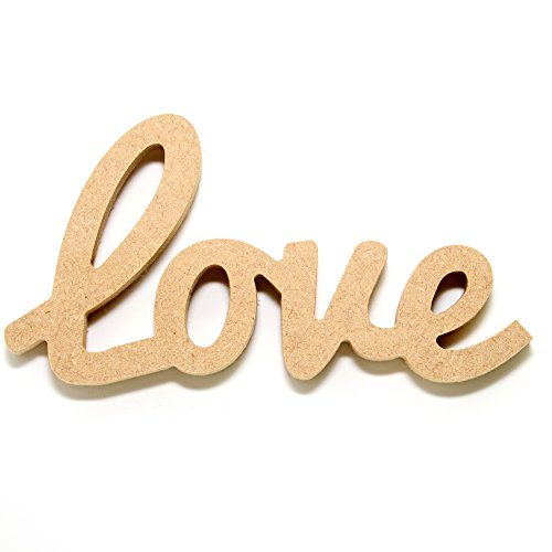 MDF Free standing word.'Love' MDF Love Word Measures 100mm x 190mm (Upper Case Letter is 100mm in height) (100mm)
