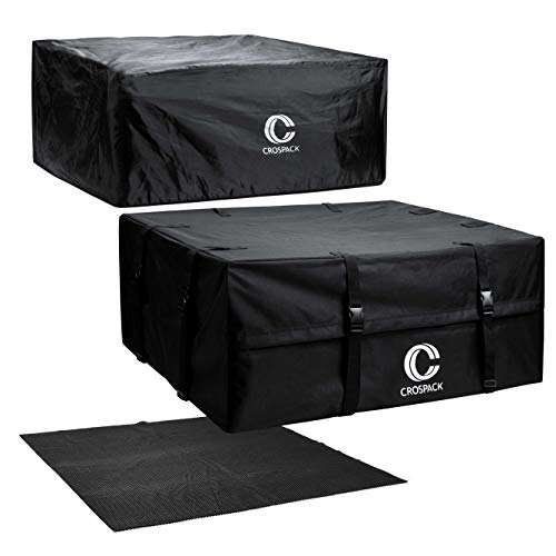 Crospack Cargo Carrier 100% Waterproof, Premium Triple Seal for Maximum Protection,Presentation of Rainproof Cover and mat Rooftop Cargo Top CarrieFits All Cars: with Side Rails Cross Bars or No Rack