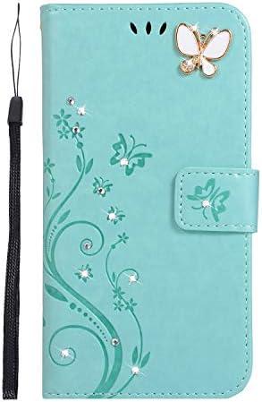 Homikon PU Leder Hülle Retro Schön Schmetterling Blume Schutzhülle für Mädchen Brieftasche Ledertasche Bling Glänzend Glitzer Diamant Handyhülle Etui Kompatibel mit iPhone 11 - Grün