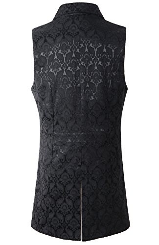 DarcChic Mens Gothic Steampunk Double Breasted Vest Waistcoat VTG Brocade 4