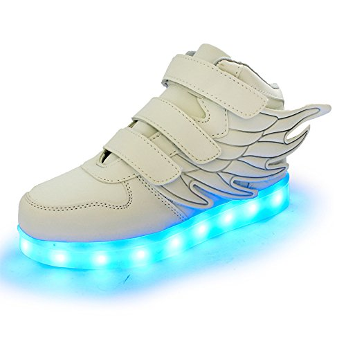 Top Luckfugui Lights Boy Flashing Shoes Girl High Led Light Hiphop Sneakers 11 Up Kids Toddler Colors White Cool qXrRxPq