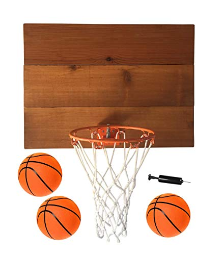 Wooden Rim - Planter Pros Indoor Basketball Wood Backboard, for Wall Made with American Cedar. Includes 9