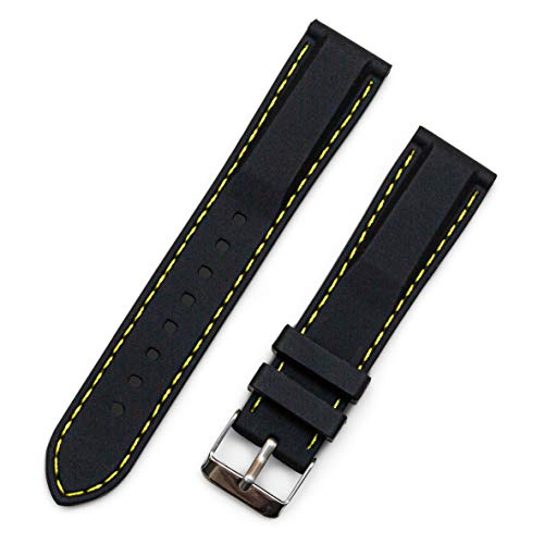 Benchmark Basics Black 18mm Silicone Rubber Watchband with Yellow Stitching + Spring Bar Tool (18mm, Black w/Yellow Stitching)