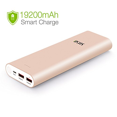 iKits Power Bank, 20000mAh Portable Charger Aluminum Case LG Cell Dual USB port: 2.4A+2.4A with Smart IC Technology External Battery Pack for iPhone/iPad & Samsung and more Rose Gold