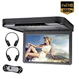 15.6inch IPS Screen 1080P Video Touch Button Car Roof Mount Overhead DVD Player Flip Down Monitor DVD Player for SUV MPV USB/SD/HDMI,AV in/Out,FM&IR Transmitter,2pcs IR Headphone Included(Black)