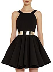 SheIn Women's Sleeveless Backless Black Flare Dress