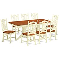 East West Furniture NADO9-WHI-W 9 Piece Small Kitchen Table and 8 Dining Room Chairs Set
