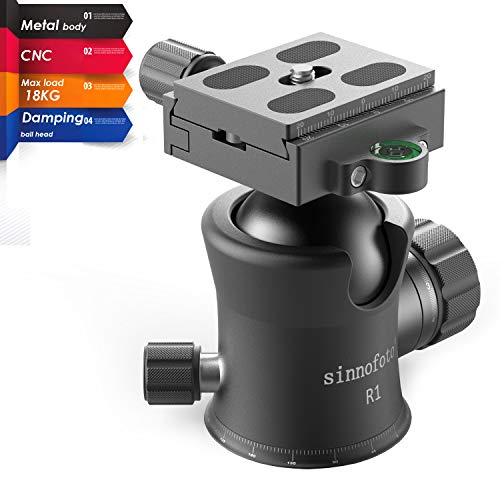 Sinnofoto R1 39.7lbs CNC Professional Premium Metal Damping Camera Tripod Ball Heads with 1/4 Quick Shoe Plate Includes Tri-Bubble Levels Ballhead for Tripod,Monopod,Slider,DSLR Camera,Camcorder