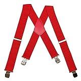Red Mens X-Back Clip On Suspenders Adjustable Elastic Braces Shoulder Strap, 2'' Wide