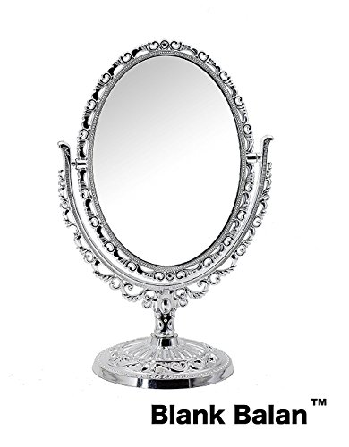 Blank Balan Makeup Mirror, Stand Mirror, Double Sided, Classic European Style, Oval Shaped - Autumn Oak Finish Mirror