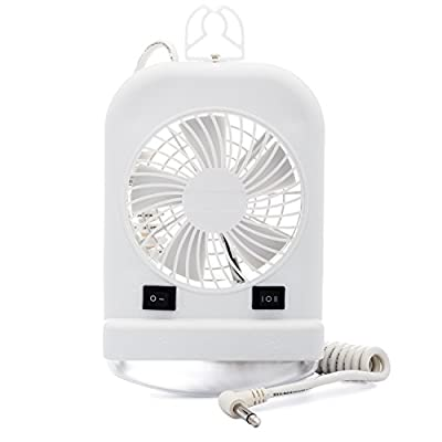 Lumitronics Combination Interior 12V Reading Light with 2 Speed Fan for RVs, Trailers, Campers, 5th Wheels. Includes Incandescent Light Bulb and Extendable Coil Cord. Convenient On/Off Switch