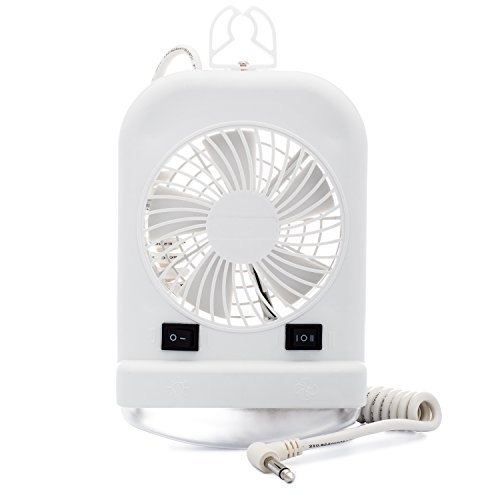 Lumitronics Combination Interior 12V Reading Light with 2 Speed Fan for RVs, Trailers, Campers, 5th Wheels. Includes Incandescent Light Bulb and Extendable Coil Cord. Convenient On/Off (Combo Lite Combination Clamp)