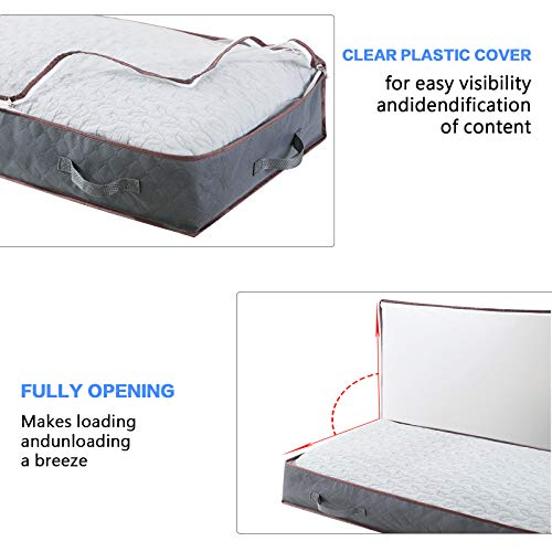 Clothes Storage Bag, Large Capacity Under Bed Storage Bags Organizer with Clear Window, Two-Way Zipper and Durable Handle for Blanket, Comforter, Clothing and Bedding-Set of 4