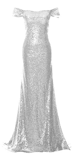 MACloth Women Off the Shoulder Prom Dress Mermaid Sequin Formal Evening Gown Plateado
