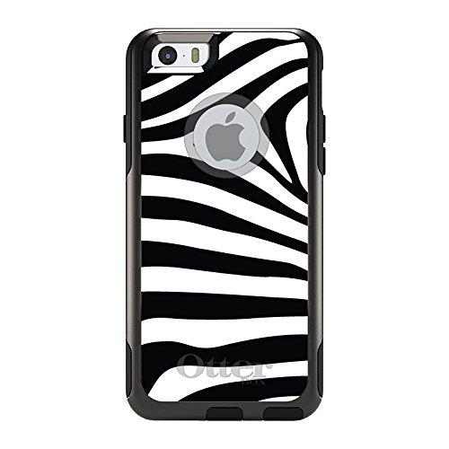 DistinctInk Case for iPhone 6 Plus / 6S Plus - OtterBox Commuter Black Custom Case - Black White Zebra Skin Stripes ()