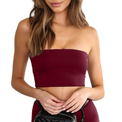 (HOSOME Women Wild Style Bra Tank Off Shoulder Crop Tops Casual Strapless Vests Wine)