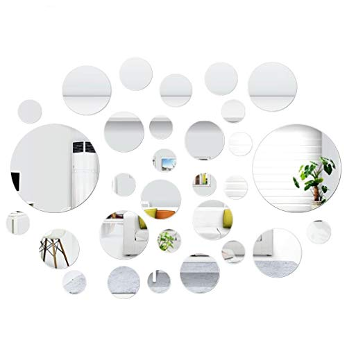 (SelfTek 30 Pcs DIY Mirror Wall Stickers Self Adhesive Removable Round Mirrors Decor for Home Art Room Bedroom Background Decoration)