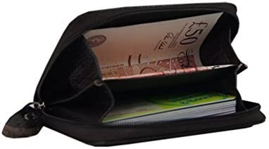 Mens Genuine Leather Slim Coin Pouch Credit Card Case Holder Wallet With Zipper