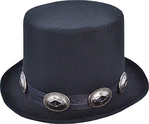 Price comparison product image Adults Fancy Dress Halloween Party Headwear Rocker Style Top Hat Black One Size