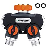 VIVOSUN 2 Way Garden Hose Splitter, Upgraded Highly Durable Water Hose Connector, Faucet Adapter with Comfortable Rubberized Grip for Drip Irrigation, Lawns