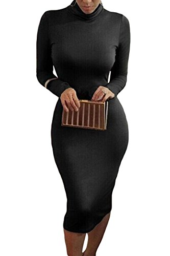 Pink Queen Womens Turtleneck Long Sleeve Knee Length Bodycon Midi Dress L Black