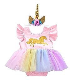 IWEMEK Baby Girls 1st 2nd Birthday Cake Smash Photo Shoot 3pcs Outfits Newborn Infant Princess Halloween Unicorn