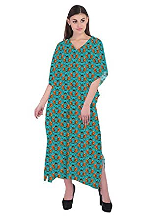 RADANYA Flowers Women's Casual Loose Maxi Long Kaftan Dress 3/4 Sleeve Cotton Caftan Blue