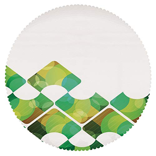 Eco-Friendly Round Tablecloth [ Abstract,Triangular Shapes in Symmetrical Order with Abstract Fantasy Elements Print,Green Brown Aqua ] Decorative Tablecloth ()