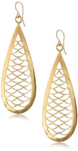 Devon Leigh Carved Yellow Gold-Plated Bronze Teardrop Earrings