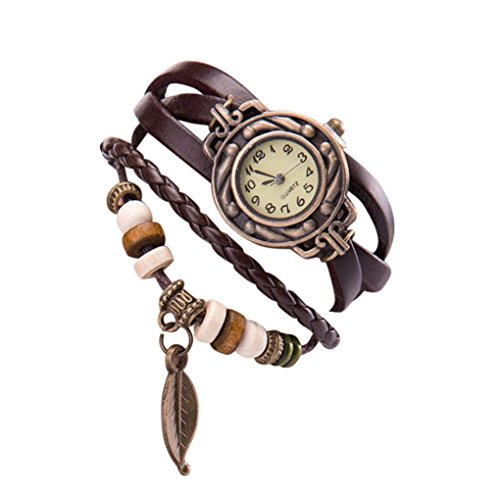 HIRIRI Hot Sale Women Girl Vintage Watches,Bracelet Wristwatches leaf Pendant Coffee Wrist Watch Gift (Coffee)