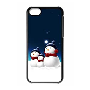 iPhone 5C Case,Merry Christmas Cute Snowman Christmas Gift Design Cover With Hign Quality Hard Plastic Protection Case