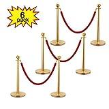 Tobbi 6PCS Velvet Rope Stanchion Gold Post Crowd Control Queue Line Barrier