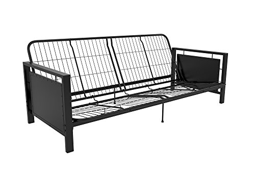 - DHP Henley Metal Arm Futon Frame, Industrial Loft Design, Converts to Sleeper, Black Sturdy Metal