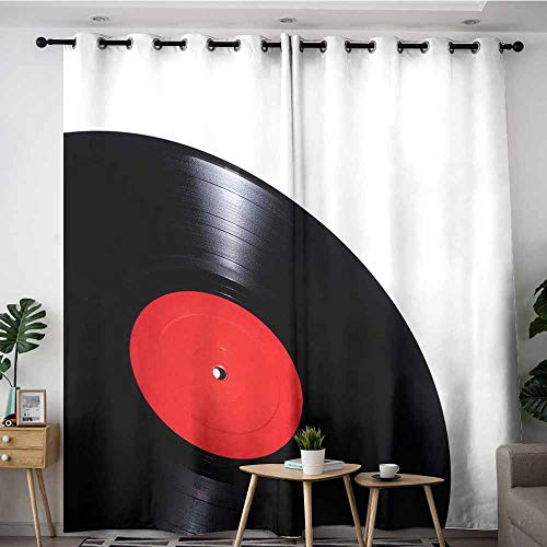 (AndyTours Doorway Curtains,White Vinyl Record (3),Hipster Patterned,W84x108L)