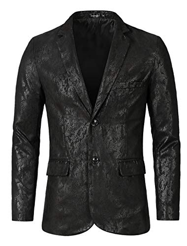 (Lars Amadeus Men Luxury Fashion Stylish Print Slim Fit Wedding Dinner Prom Dress Party Blazer Black Small)