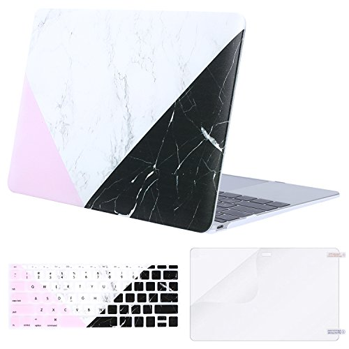 MOSISO Plastic Pattern Hard Case & Keyboard Cover & Screen Protector Compatible MacBook 12 inch Retina Display A1534 (Newest Version 2017/2016/2015), White Marble & Pink Black by MOSISO