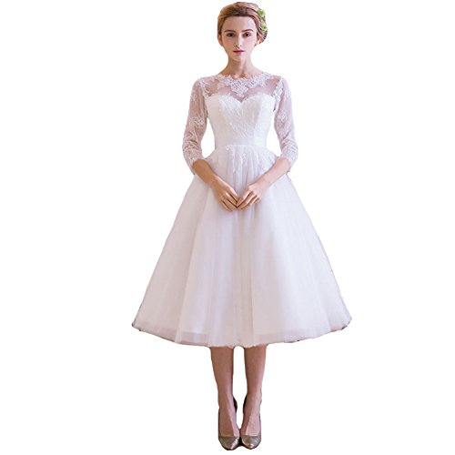 Lemai Tulle Lace Tea Length Informal Beach Short Bridal Reception Wedding Dresses Ivory US18W
