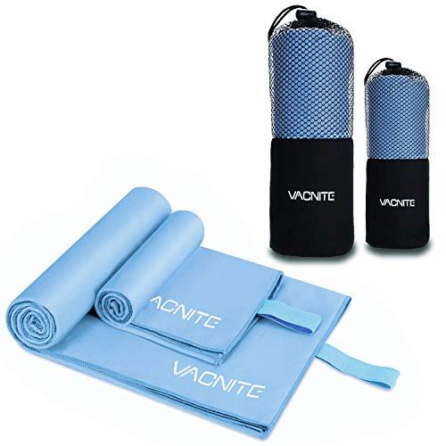 VACNITE 2 Piezas Toalla de Microfibra Deportiva, Secado Rápido Toalla para Viajes Deportes Natación Yoga (Azul)