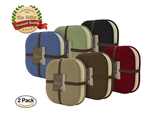 2 Pack: GoodGram Non Slip Ultra Comfort Memory Foam Chair Pads - (Dining Pad)