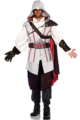 Leg Avenue Men's Assassin's Creed 8 Piece Ezio Deluxe Deluxe Costume Cosplay, Grey, -