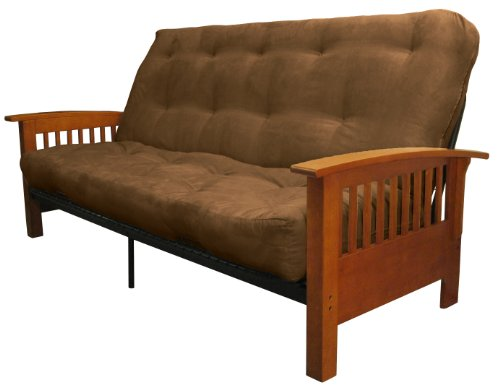 Rustic Futon Covers (Brentwood Mission-Style 8-Inch Loft Inner Spring Futon Sofa Sleeper Bed, Queen-size, Medium Oak Arm Finish, Microfiber Suede Chocolate Brown Upholstery)