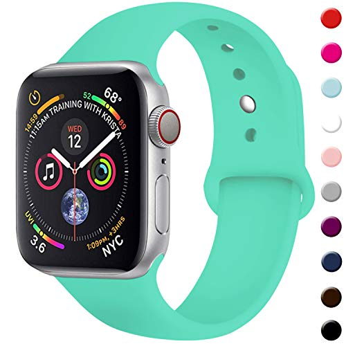 (TIMTU Sport Band Compatible with Apple Watch 38mm 40mm, Women Men Replacement Compatible with iWatch Band 38mm 40mm, M/L Mint Green)